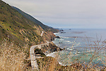 Seen from the Nacimiento-Ferguson Road, along the magnificent Big Sur California coastline the Pacific Ocean washes steep cliffs and sea stacks, rock arches and sandy coves in a dramatic  seascape along California State HIghway 1 between Monterey and San Luis Obispo, California on the Central Coast.