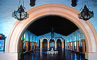 "Mission Revival: Fox Arlington Theater, Santa Barbara, 1929-1930. Arched entry to ""Paseo"" from loggia.  Photo 1983."