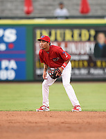 Clearwater Threshers shortstop J.P. Crawford (2) during a game against the Tampa Yankees on June 26, 2014 at Bright House Field in Clearwater, Florida.  Clearwater defeated Tampa 4-3.  (Mike Janes/Four Seam Images)