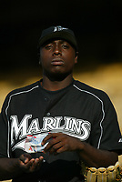 Dontrelle Wills of the Florida Marlins during a 2003 season MLB game at Dodger Stadium in Los Angeles, California. (Larry Goren/Four Seam Images)