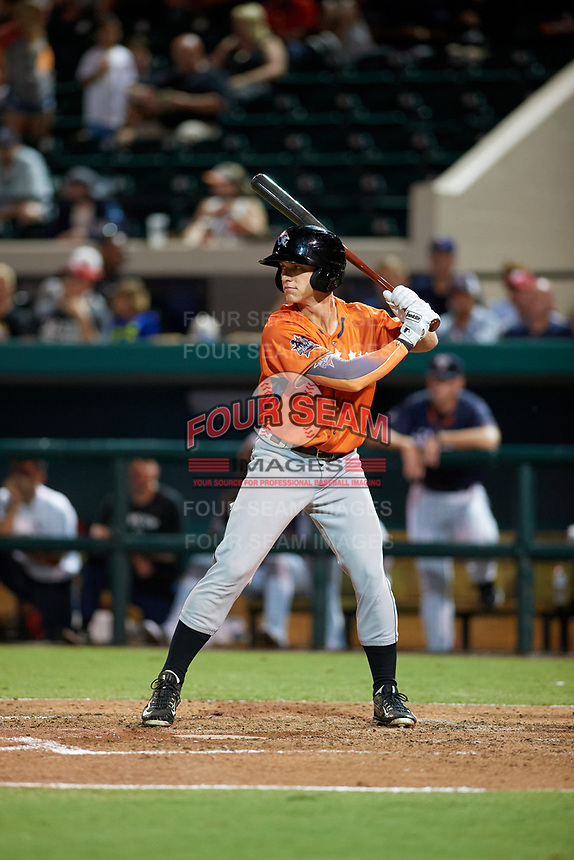 Jupiter Hammerheads Kyle Barrett (32) bats during the Florida State League All-Star Game on June 17, 2017 at Joker Marchant Stadium in Lakeland, Florida.  FSL North All-Stars defeated the FSL South All-Stars  5-2.  (Mike Janes/Four Seam Images)