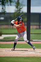 GCL Astros Tyler Krabbe (56) at bat during a Gulf Coast League game against the GCL Nationals on August 9, 2019 at FITTEAM Ballpark of the Palm Beaches training complex in Palm Beach, Florida.  GCL Nationals defeated the GCL Astros 8-2.  (Mike Janes/Four Seam Images)