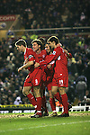 Birmingham City 0 Liverpool 7, 21/03/2006. St Andrews, FA Cup 6th Round. Birmingham City (blue) versus Liverpool,  The home side lost 0-7. Picture shows Liverpool players celebrate Fernando Morientes' (second left) goal. Photo by Colin McPherson.