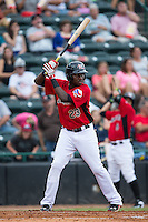 Juremi Profar (23) of the Hickory Crawdads at bat against the West Virginia Power at L.P. Frans Stadium on August 15, 2015 in Hickory, North Carolina.  The Power defeated the Crawdads 9-0.  (Brian Westerholt/Four Seam Images)