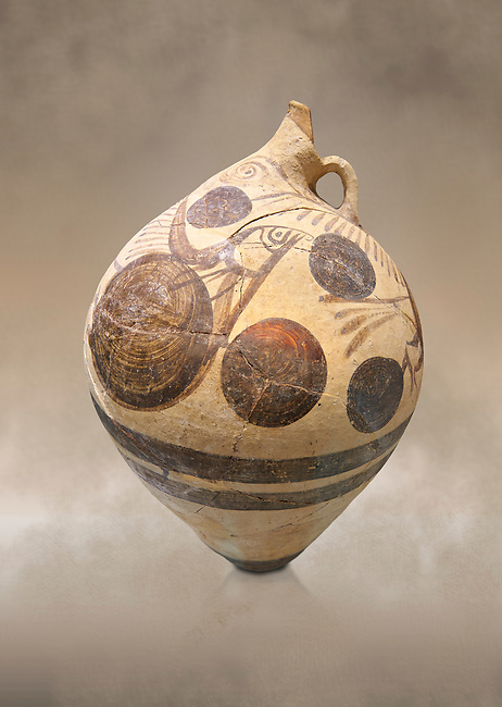 Cycladic  clay jug with fish design from the  Knossos-Temple Repositories 1650-1550 BC, Heraklion Archaeological  Museum.<br /> <br /> Cycladic vessels found iun Knossos Temple Repositories show the trading links with the rest of ancient Greece