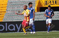 BOGOTÁ - COLOMBIA,  07-02-2021 .Daniel Restrepo del Deportivo Pereira celebra después de anotar el gol de su equipo durante partido por la fecha 5 entre Millonarios y Deportivo Pereira  como parte de la Liga BetPlay DIMAYOR 2021 jugado en el estadio  Nemesio Camacho El Campin de la ciudad de Bogotá. /Daniel Restrepo of Deportivo Pereira  celebrates after scoring the  goal of his team during match for the date 5 between  Millonarios  and Deportivo Pereira BetPlay DIMAYOR League I 2021 played at Nemesio Camacho El Campin stadium in Bogota city. Photo: VizzorImage / Felipe Caicedo / Staff