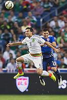 Mexico's  forward Erick Torres (9) and United States' defender Ventura Alvarado (19) during an international friendly at the Alamodome, Wednesday, April 15, 2015 in San Antonio, Tex. USA defeated Mexico 2-0. (Mo Khursheed/TFV Media via AP Images)