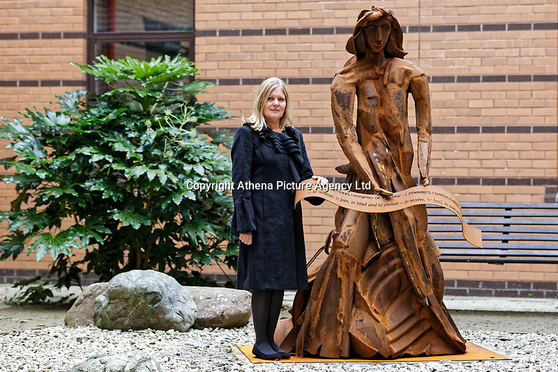 """Pictured: Artist Sarah Tombs. Monday 05 February 2018<br /> Re: A sculpture has been unveiled at Welsh Centre for Burns and Plastic Surgery in Morriston Hospital to commemorate its links with Port Talbot steelworks in Wales, UK.<br /> It was inspired by Welsh mythology and created from Tata steel by artist Sarah Tombs.<br /> The sculpture is of the legendary Lady of Llyn y Fan Fach and was unveiled by Abertawe Bro Morgannwg health board to mark the 70th birthday of the NHS.<br /> According to the Mabinogion and The Red Book of Hergest, she was mother of the Physicians of Myddfai, who used magical powers to heal the sick and symbolises """"regeneration and healing""""."""