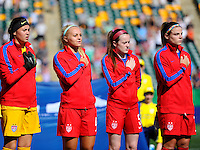 Edmonton, Canada - Tuesday, August 5, 2014: The USWNT U-20's lost to Germany 2-0 in their first round match during the 2014 FIFA U-20 Women's World Cup at Commonwealth Stadium.