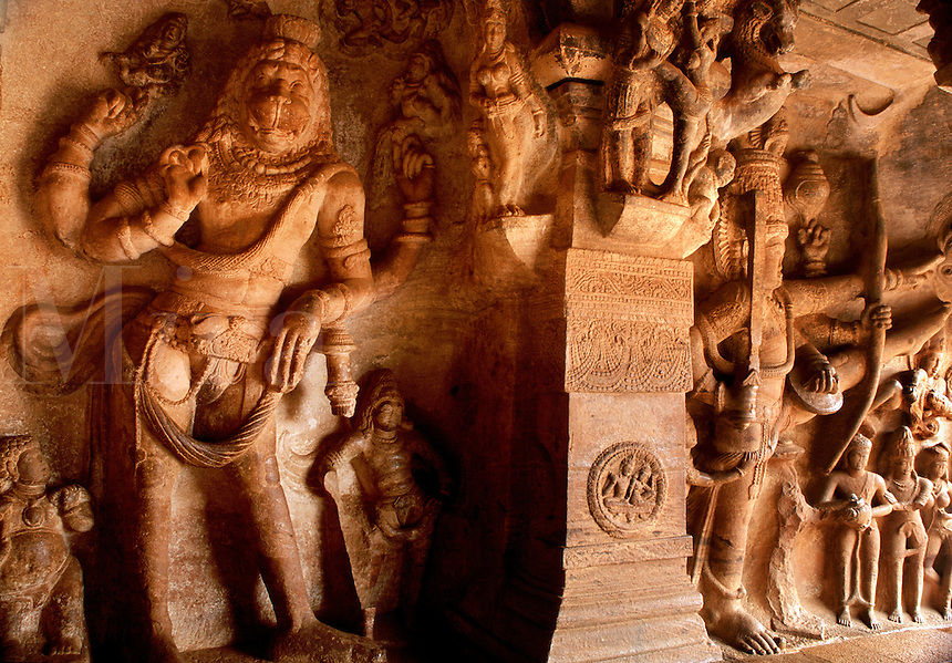 Chalukyan rock cut temple Badami Karnataka State India.