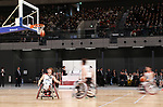 February 2, 2020, Tokyo, Japan - Japanese wheelchair basketball team members demonstrate a training session after the opening ceremony for the Ariake Arena in Tokyo on Sunday, February 2, 2020. Ariake Arena, 15,000 seats multiple purpose hall will be used for Olympic volleyball and Paralympic wheelchair basketball events.    (Photo by Yoshio Tsunoda/AFLO)