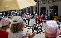 roadside views from Stage 20 (ITT) from Libourne to Saint-Émilion (30.8km) > Marco Haller (AUT/Bahrain - Victorious) passing through<br /> <br /> 108th Tour de France 2021 (2.UWT)<br /> <br /> ©kramon
