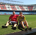 """Collect pic of Josuha Rae, who is 6' 1"""" despite only being 12 years old, with his dad Robert who accompanied him to Madrid for his trial with Atletico de Madrid."""