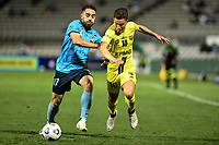 8th February 2021; Jubilee Stadium, Sydney, New South Wales, Australia; A League Football, Sydney Football Club versus Wellington Phoenix; Anthony Caceres of Sydney and Louis Fenton of Wellington Phoenix compete for the ball along the wing