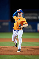 St. Lucie Mets starting pitcher Josh Prevost (27) delivers a pitch during the second game of a doubleheader against the Charlotte Stone Crabs on April 24, 2018 at First Data Field in Port St. Lucie, Florida.  St. Lucie defeated Charlotte 6-5.  (Mike Janes/Four Seam Images)