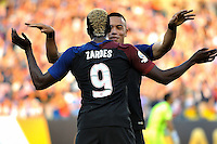 Philadelphia, PA - June 11, 2016: USA forwards Bobby Wood (7) and Gyasi Zardes (9) during a Copa America Centenario Group A match between United States (USA) and Paraguay (PAR) at Lincoln Financial Field.