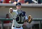 Reno Aces' Dan Rohlfing makes the throw to first on a dropped third strike against the Tacoma Rainiers at Greater Nevada Field in Reno, Nev., on Sunday, Aug. 28, 2016. <br />Photo by Cathleen Allison