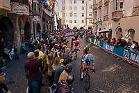 peloton cheered on downtown Innsbruck<br /> <br /> MEN ELITE ROAD RACE<br /> Kufstein to Innsbruck: 258.5 km<br /> <br /> UCI 2018 Road World Championships<br /> Innsbruck - Tirol / Austria