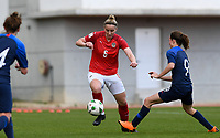 20190304 - LARNACA , CYPRUS : Austrian Katharina Schiechtl  pictured in a duel with Slovakian Lenka Kopcova (r) during a women's soccer game between Slovakia and Austria , on Monday 4 th March 2019 at the GSZ Stadium in Larnaca , Cyprus . This is the third and last game in group C for both teams during the Cyprus Womens Cup 2019 , a prestigious women soccer tournament as a preparation on the Uefa Women's Euro 2021 qualification duels. PHOTO SPORTPIX.BE | DAVID CATRY