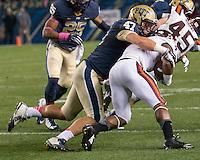 Pitt linebacker Matt Galambos (47). The Pitt Panthers defeated the Virginia Tech Hokies 21-16 at Heinz Field, Pittsburgh Pennsylvania on October 16, 2014