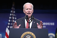 US President Joe Biden delivers remarks on the US response to the coup in Myanmar, in the Eisenhower Executive Office Building (EEOB) at the White House complex, in Washington, DC, USA, 10 February 2021.<br /> CAP/MPI/RS<br /> ©RS/MPI/Capital Pictures