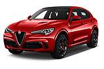 2019 Alfaromeo Stelvio-Quadrifoglio - 5 Door SUV Angular Front stock photos of front three quarter view