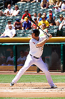 Brennan Boesch (23) of the Salt Lake Bees at bat against the Nashville Sounds in Pacific Coast League action at Smith's Ballpark on June 22, 2014 in Salt Lake City, Utah.  (Stephen Smith/Four Seam Images)