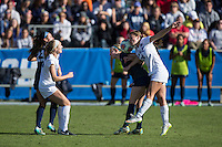 Cary, North Carolina - Sunday December 6, 2015: Morgan Reid (24) of the Duke Blue Devils battles for the ball with Haleigh Echard (15) of the Penn State Nittany Lions during second half action at the 2015 NCAA Women's College Cup at WakeMed Soccer Park.  The Nittany Lions defeated the Blue Devils 1-0.