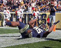 Pitt wide receiver Jester Weah was unable to hold on to the football on this potential touchdown catch.  The Pitt Panthers football team defeated the Virginia Cavaliers 26-19 on Saturday October 10, 2015 at Heinz Field, Pittsburgh, Pennsylvania.