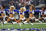 Dallas Cowboys cheerleaders in action during the pre-season game between the Houston Texans and the Dallas Cowboys at the AT & T stadium in Arlington, Texas. Houston leads Dallas 14 to 3 at halftime.