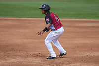 Wisconsin Timber Rattlers outfielder Brandon Diaz (5) gets a lead off first base during a Midwest League game against the Kane County Cougars on May 16th, 2015 at Fox Cities Stadium in Appleton, Wisconsin.  Kane County defeated Wisconsin 4-2.  (Brad Krause/Four Seam Images)
