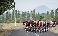 peloton leaving Clermont-Ferrand with the legendary Puy-de-Dôme as a backdrop<br /> <br /> Stage 1: Clermont-Ferrand to Saint-Christo-en-Jarez (218km)<br /> 72st Critérium du Dauphiné 2020 (2.UWT)<br /> <br /> ©kramon