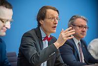 """Bundesgesundheitsminister Jens Spahn (CDU) stellte am Montag den 1. April 2019 mit den Bundestagsabgeordneten Georg Nuesslein (CDU/CSU), Prof. Karl Lauterbach (SPD) und Petra Sitte (Linkspartei) in Berlin den Gesetzentwurf """"Organspende - doppelte Widerspruchsloesung"""" vor.<br /> Im Bild vlnr.: Jens Spahn, Karl Lauterbach, Georg Nuesslein.<br /> 1.4.2019, Berlin<br /> Copyright: Christian-Ditsch.de<br /> [Inhaltsveraendernde Manipulation des Fotos nur nach ausdruecklicher Genehmigung des Fotografen. Vereinbarungen ueber Abtretung von Persoenlichkeitsrechten/Model Release der abgebildeten Person/Personen liegen nicht vor. NO MODEL RELEASE! Nur fuer Redaktionelle Zwecke. Don't publish without copyright Christian-Ditsch.de, Veroeffentlichung nur mit Fotografennennung, sowie gegen Honorar, MwSt. und Beleg. Konto: I N G - D i B a, IBAN DE58500105175400192269, BIC INGDDEFFXXX, Kontakt: post@christian-ditsch.de<br /> Bei der Bearbeitung der Dateiinformationen darf die Urheberkennzeichnung in den EXIF- und  IPTC-Daten nicht entfernt werden, diese sind in digitalen Medien nach §95c UrhG rechtlich geschuetzt. Der Urhebervermerk wird gemaess §13 UrhG verlangt.]"""