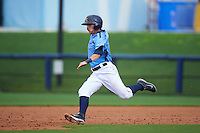 Charlotte Stone Crabs outfielder Marty Gantt (7) slides into second during a game against the Dunedin Blue Jays on July 26, 2015 at Charlotte Sports Park in Port Charlotte, Florida.  Charlotte defeated Dunedin 2-1 in ten innings.  (Mike Janes/Four Seam Images)