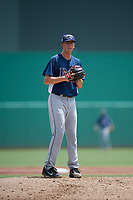 GCL Rays starting pitcher Matthew Liberatore (32) gets ready to deliver a pitch during a game against the GCL Red Sox on August 1, 2018 at JetBlue Park in Fort Myers, Florida.  GCL Red Sox defeated GCL Rays 5-1 in a rain shortened game.  (Mike Janes/Four Seam Images)