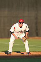 Skyler Ewing #44 of the Salem-Keizer Volcanoes during a game against the Spokane Indians at Volcanoes Stadium on July 26, 2014 in Keizer, Oregon. Spokane defeated Salem-Keizer, 4-1. (Larry Goren/Four Seam Images)
