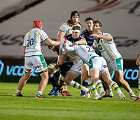 20th November 2020; AJ Bell Stadium, Salford, Lancashire, England; English Premiership Rugby, Sale Sharks versus Northampton Saints;  Jono Ross(C) of Sale Sharks in the thick of multiple tackles