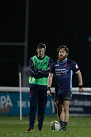 Rory Jennings of London Scottish sizes up a conversion during the Greene King IPA Championship match between London Scottish Football Club and Coventry at Richmond Athletic Ground, Richmond, United Kingdom on 8 March 2019. Photo by Carlton Myrie/ PRiME Media Images.