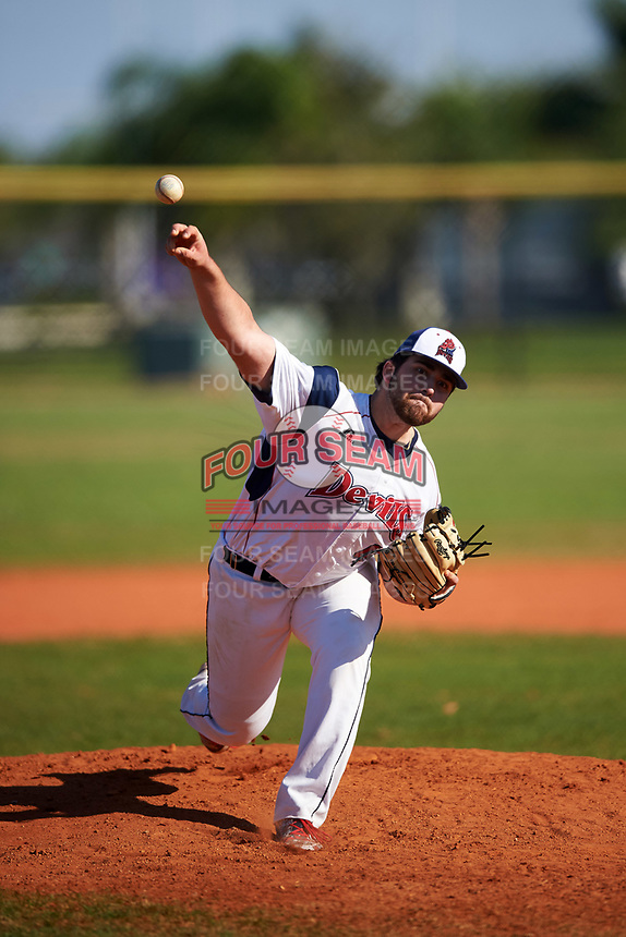 FDU-Florham Devils starting pitcher Anthony Cuomo (40) delivers a pitch during the second game of a doubleheader against the Farmingdale State Rams on March 15, 2017 at Lake Myrtle Park in Auburndale, Florida.  FDU-Florham defeated Farmingdale 8-4.  (Mike Janes/Four Seam Images)