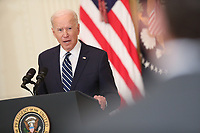 President Joe Biden speaks during the first formal press conference of his presidency in the East Room of the White House in Washington, D.C. on Thursday, March 25, 2021. <br /> CAP/MPI/RS<br /> ©RS/MPI/Capital Pictures