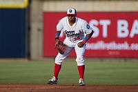 Kannapolis Cannon Ballers first baseman Harvin Mendoza (38) on defense against the Charleston RiverDogs at Atrium Health Ballpark on June 29, 2021 in Kannapolis, North Carolina. (Brian Westerholt/Four Seam Images)