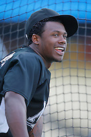 Hanley Ramirez of the Florida Marlins during batting practice before a game from the 2007 season at Dodger Stadium in Los Angeles, California. (Larry Goren/Four Seam Images)