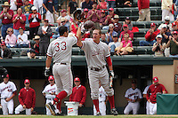 31 May 2008: Stanford Cardinal Randy Molina (33) is congratulated by Sean Ratliff (18) after hitting a home run during Stanford's 5-1 win against the Arkansas Razorbacks in game 3 of the NCAA Stanford Regional at Sunken Diamond in Stanford, CA.