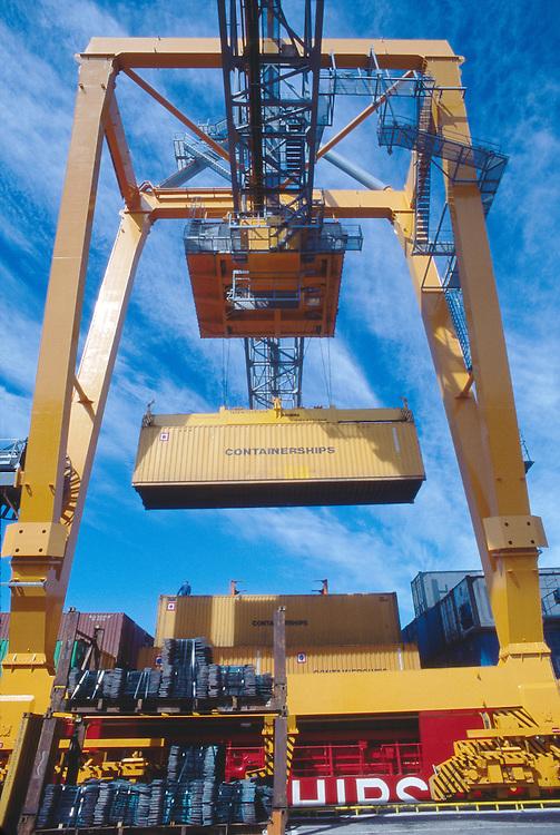 Finland, Containers, container crane, Helsinki harbor, Baltic Sea, Maritime  Trade,