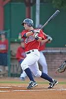 Brian Dozier Shortstop Elizabethton Twins  (Minnesota Twins) swings at a pitch at Joe O'Brien Stadium August 8, 2009 in Elizabethton, TN. (Photo by Tony Farlow/Four Seam Images)