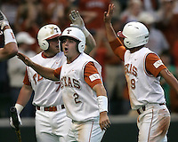 Texas 2B Travis Tucker celebrates scoring a run against Texas A&M on May 16th, 2008 in Austin Texas. Photo by Andrew Woolley / Four Seam Images.