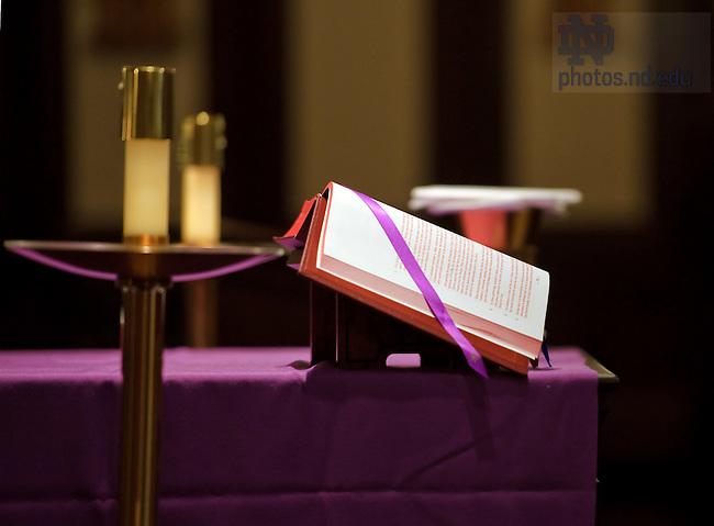 Feb. 22, 2012; Ash Wednesday Mass in Siegfried Chapel..Photo by Matt Cashore/University of Notre Dame