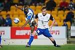 St Johnstone v Inverness Caley Thistle..29.12.12      SPL.Gregory Tade's shot is blocked by Gary Warren.Picture by Graeme Hart..Copyright Perthshire Picture Agency.Tel: 01738 623350  Mobile: 07990 594431
