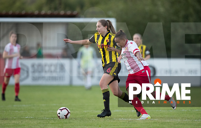 Emily Hill of Watford Ladies during the 2018/19 Pre Season Friendly match between Watford Ladies and Stevenage Ladies FC at Gaywood Park, Hempstead Road, England on 16 August 2018. Photo by Andy Rowland.
