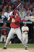 Alabama Crimson Tide infielder Kyle Overstreet (6) batting at Baum Stadium during the NCAA baseball game against the Arkansas Razorbacks on March 21, 2014 in Fayetteville, Arkansas.  The Alabama Crimson Tide defeated the Arkansas Razorbacks 17-9.  (William Purnell/Four Seam Images)